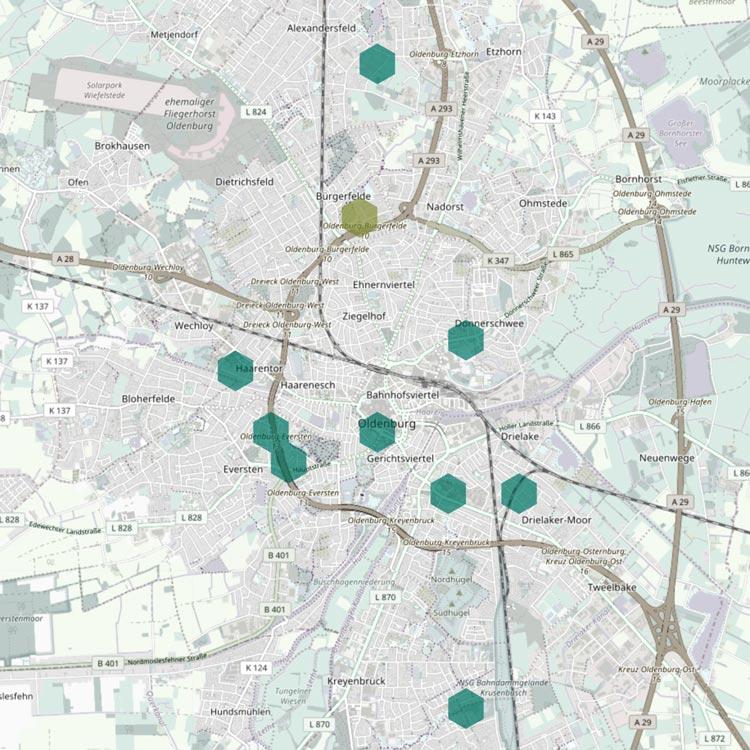 In Oldenburg werden zurzeit zehn Sensoren eingesetzt.