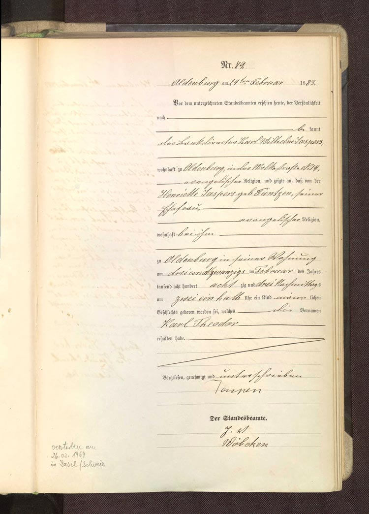 Karl Jaspers Geburtsurkunde, Oldenburg, 23. Februar 1883.