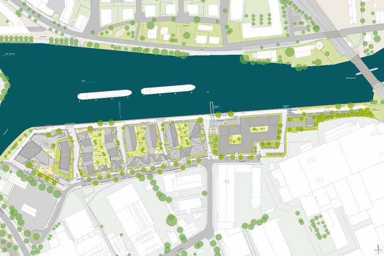 """Wohnbauprojekt Stadthafen Süd / """"Havekant""""."""