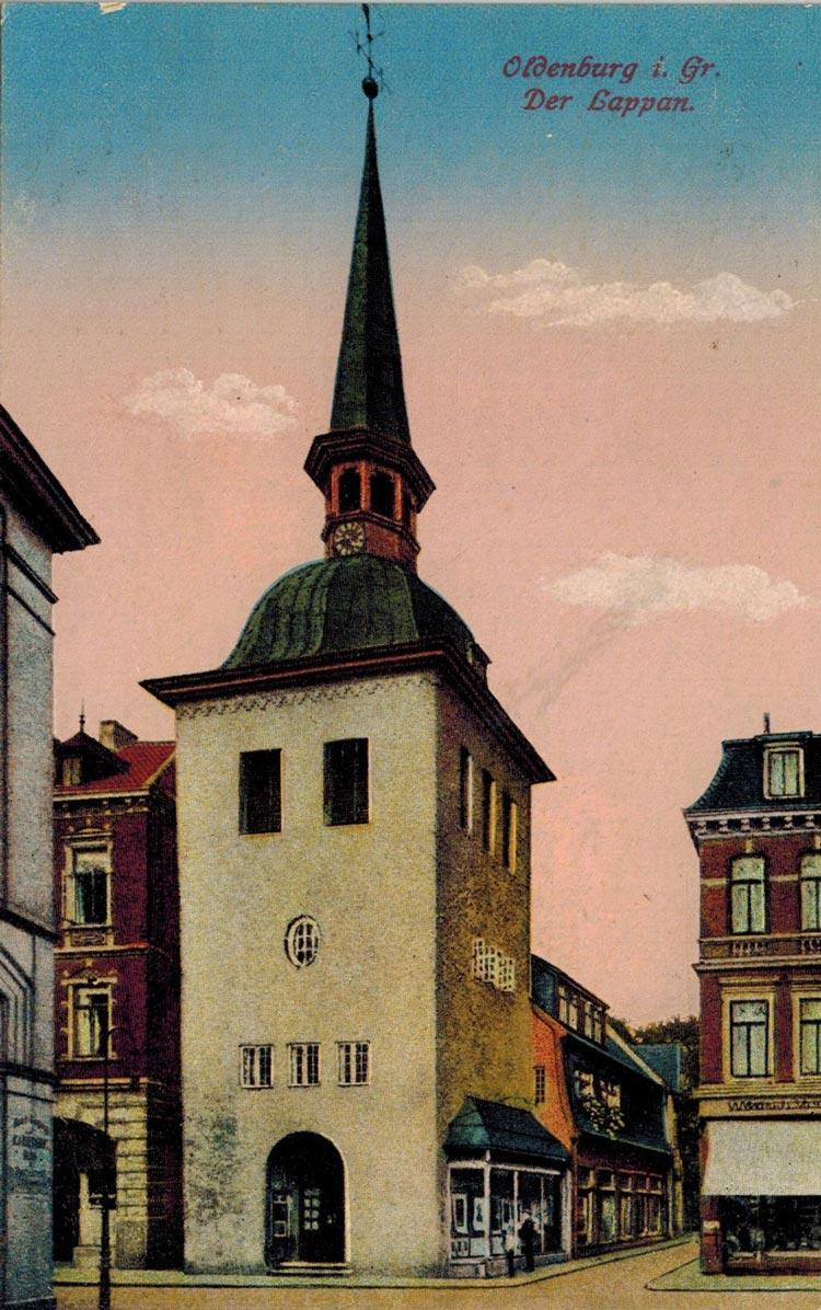 Eine Postkarte des Lappans in der Oldenburger Innenstadt von zirka 1905.