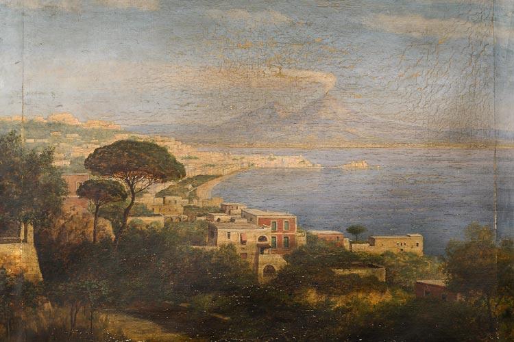Begeistert von Italien, gab Theodor Francksen beim Oldenburger Maler Ludwig Fischbeck ein großes Landschaftsgemälde mit Blick auf den Golf von Neapel in Auftrag, das ihn in seiner Heimat an seine Reisen in die Ferne erinnern sollte. Ludwig Fischbeck, Blick von Posillipo über Neapel auf den Vesuv, 1904.