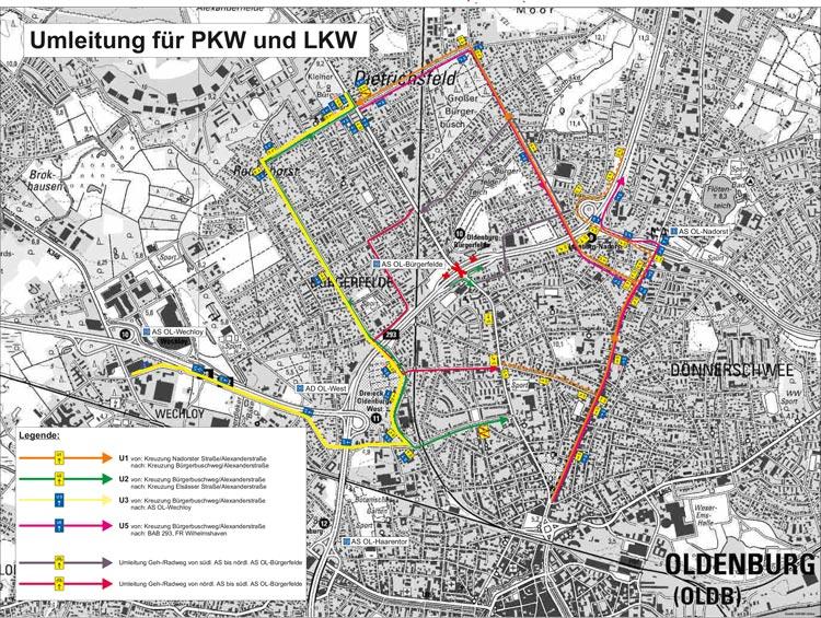Die Verkehrsteilnehmer müssen noch einmal die Umleitungen in Kauf nehmen, wenn sie vom 7. bis zum 10. September über die Alexanderstraße fahren möchten.