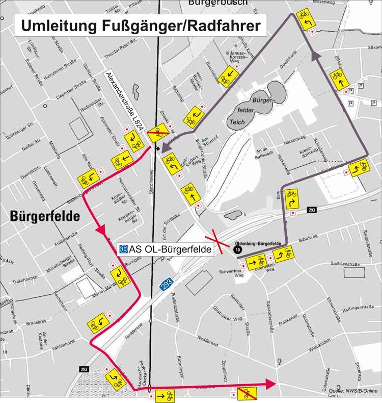 Radfahrer und Fußgänger müssen noch einmal die Umleitungen in Kauf nehmen, wenn sie vom 7. bis zum 10. September über die Alexanderstraße fahren möchten.