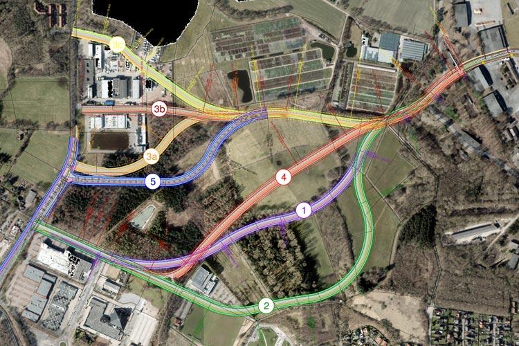 Mehrere Varianten kommen für die Entlastungsstraße in Frage. Die Stadtverwaltung möchte ab 2020 die Trasse 5 bauen.