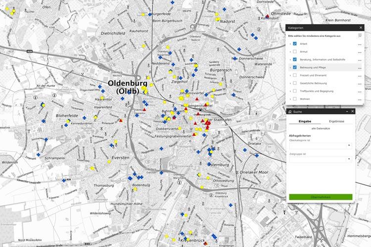 Der Soziale Stadtplan Oldenburg hilft Interessierten, soziale Einrichtungen der freien Wohlfahrtspflege und der Stadt Oldenburg zielgerichtet zu finden.