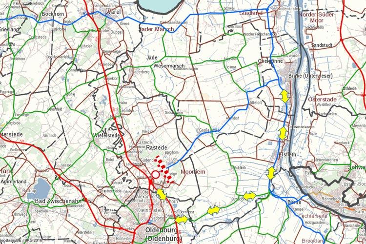 Die Landesbehörde für Straßenbau und Verkehr teilen mit, dass im Oldenburger Norden und in Rastede Straßen wegen Bauarbeiten gesperrt werden.