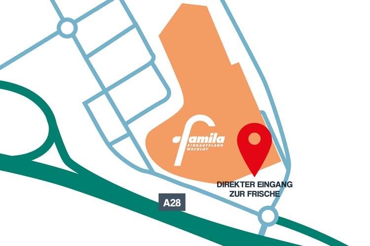 Standortkarte des neuen Eingangs im famila XXL Markt in Oldenburg.
