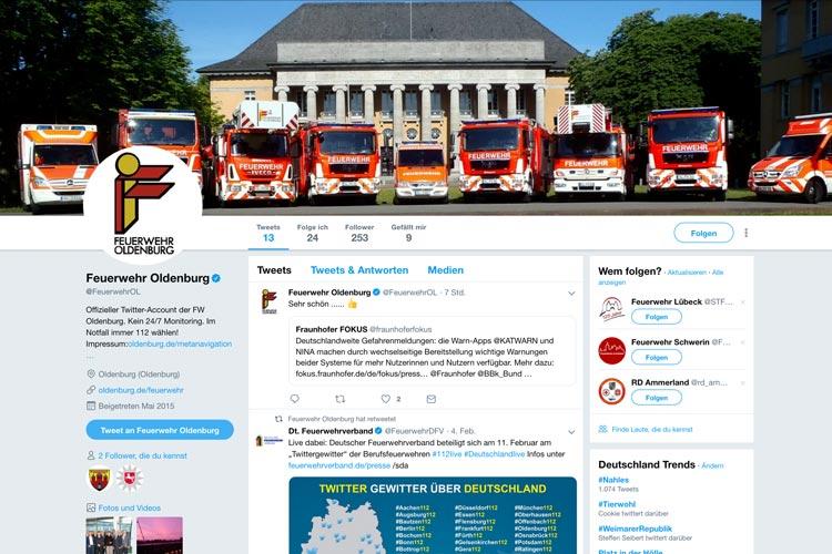 Screenshot des Twitter-Kanals der Feuerwehr Oldenburg.