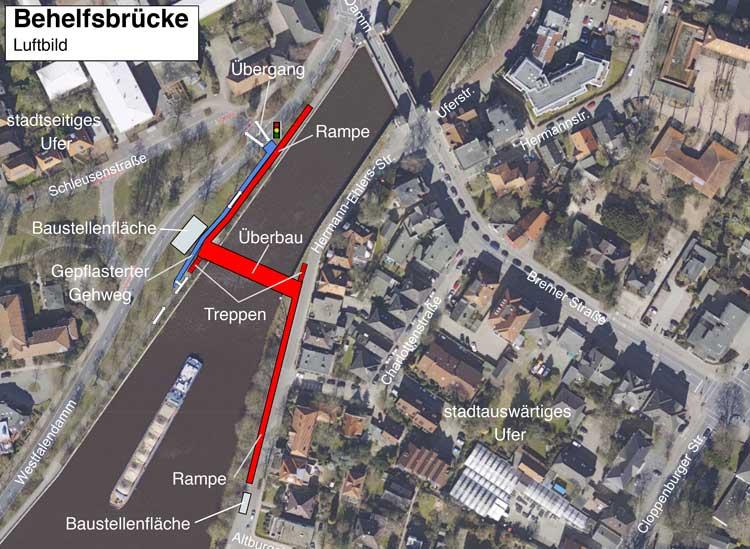 Das Wasserstraßen- und Schifffahrtsamt (WSA) Bremen informiert heute über den vorgezogenen Bau einer Behelfsbrücke über den Küstenkanal.