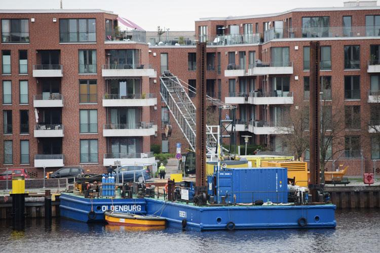 Die Bauarbeiten am östlichen Ende der Hafenpromenade schreiten voran.