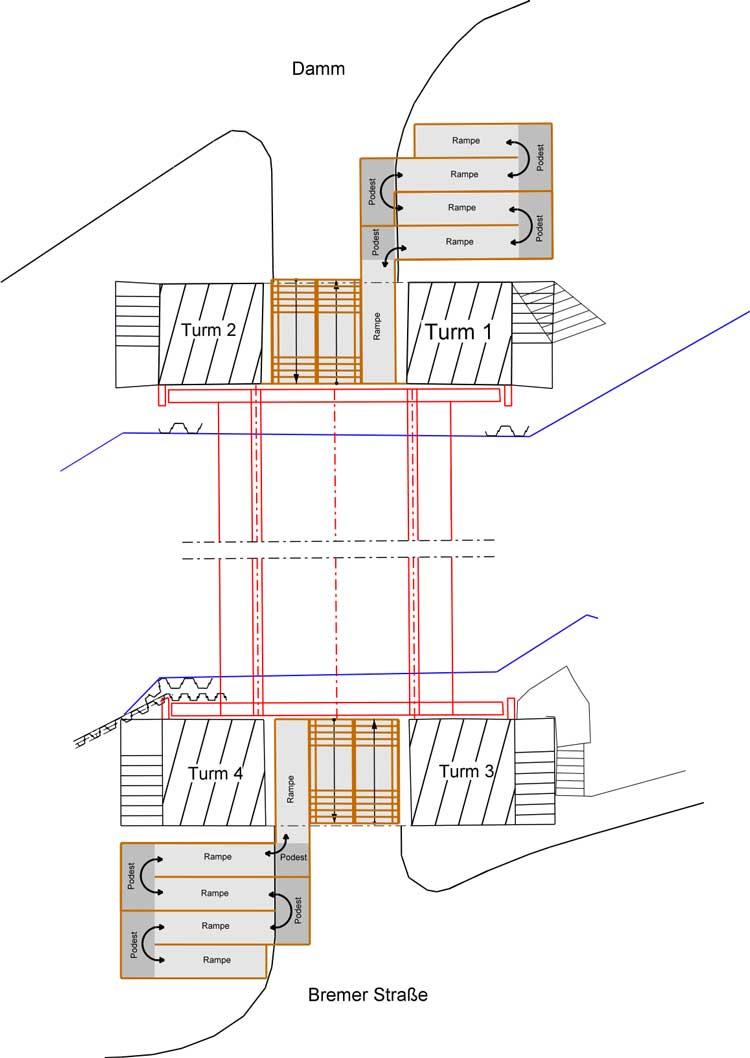Skizze zu den Treppen und Rampenanlagen.