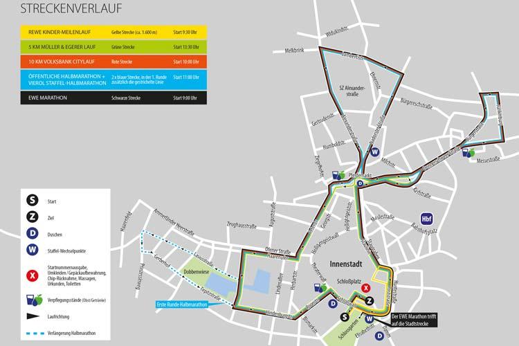 Über diese Straßen führt der Verlauf der fünf Strecken des Oldenburg Marathons.