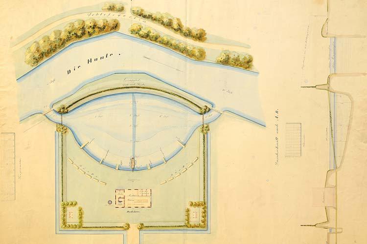Badeanstalt im Dammtorviertel um 1857.
