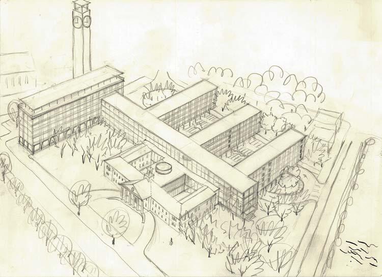 Das heutige Kulturzentrum PFL wurde 1960 als Rathaus angedacht.