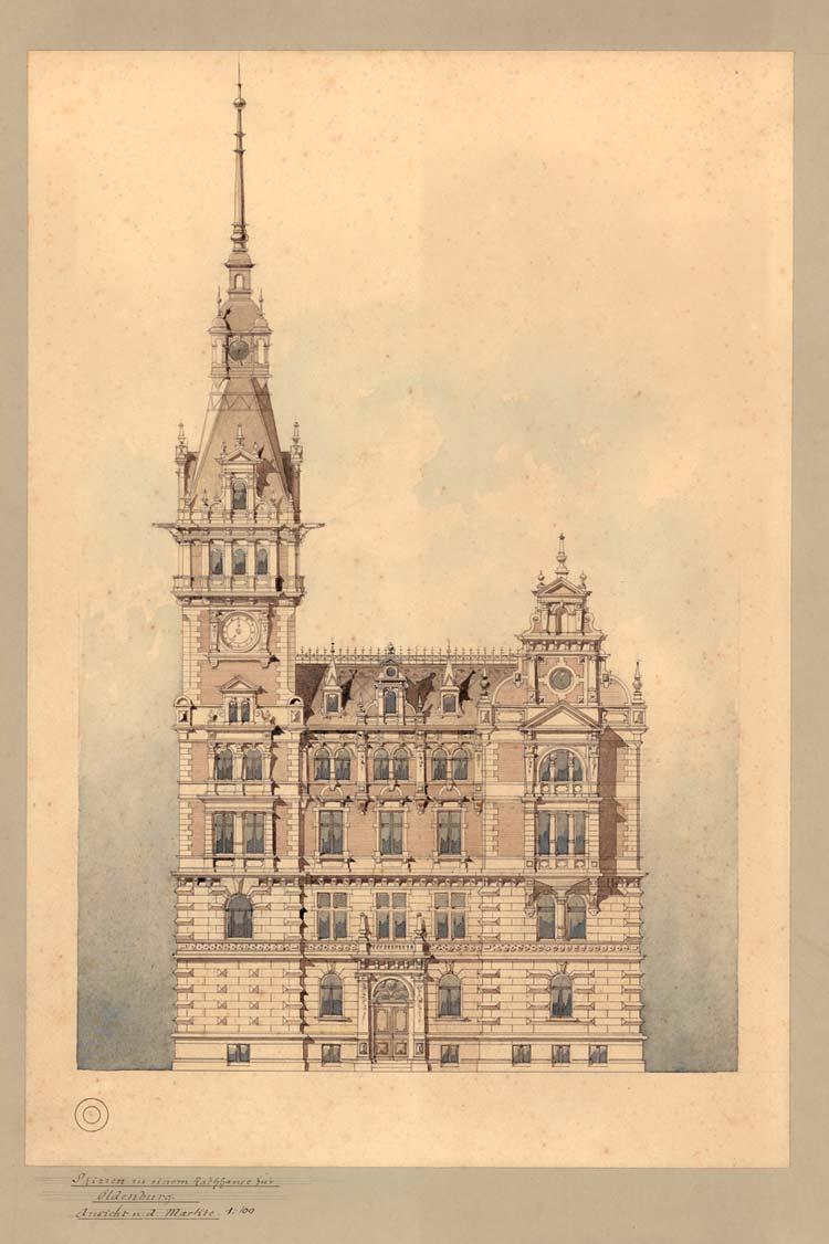 Rathausentwurf von P. Engel um 1885.