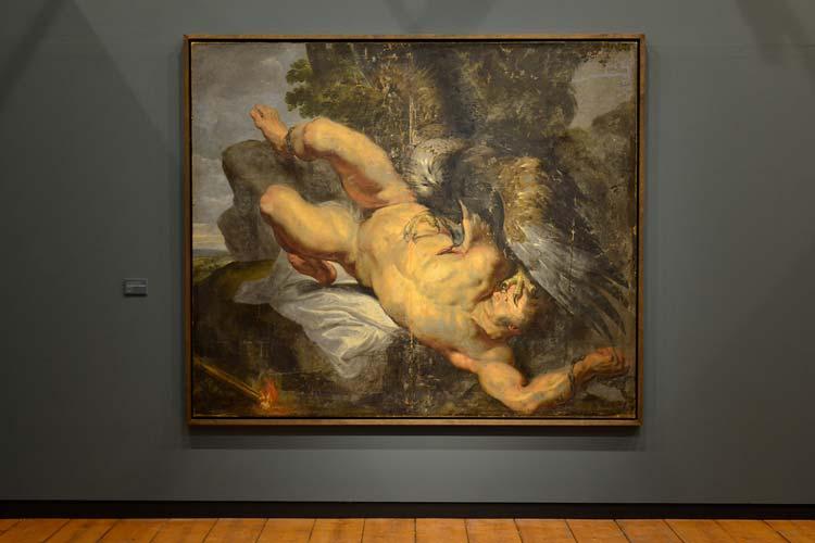 """Gekettet an einen Felsen im Kaukasus reißt dem Titanen Prometheus ein Adler jeden Tag die Leber heraus, die ihm in der Nacht nachwächst. Eine Strafe von Zeus, weil er den Menschen verbotenerweise das Feuer gebracht hat. Rubens-Werkstatt, """"Der gefesselte Prometheus"""", um 1613."""