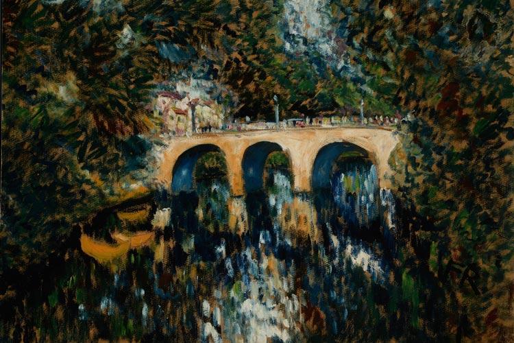 """Anlässlich des 125. Geburtstag Franz Radziwills erhält das Landesmuseum Oldenburg sein frühestes Gemälde """"Parklandschaft mit Brücke"""" als Schenkung."""