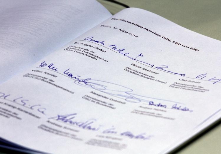 Unterschriften unter Koalitionsvertrag 2018-2021, über dts Nachrichtenagentur
