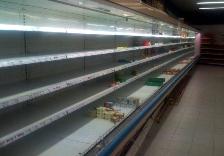 Leere Einkaufsregale in einem Supermarkt, über dts Nachrichtenagentur