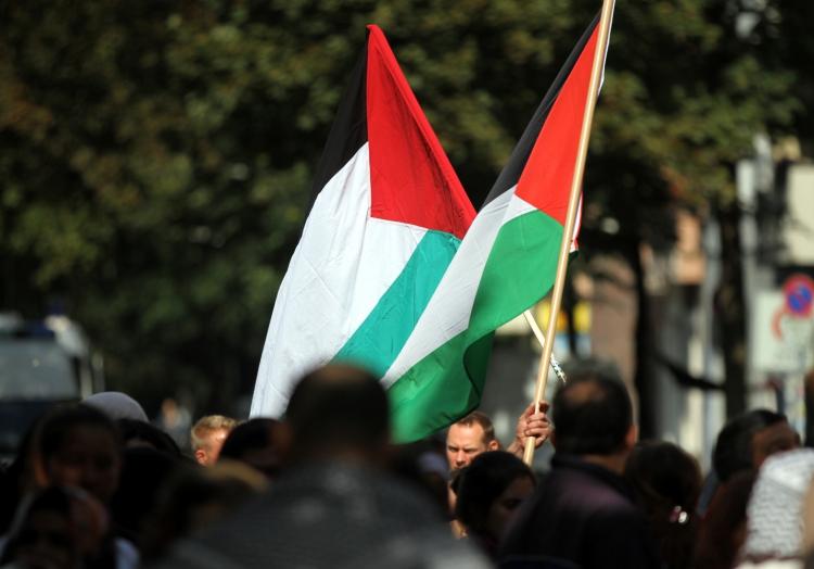 Palästinensische Fahne bei Demonstration in Berlin, über dts Nachrichtenagentur