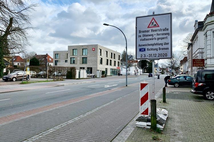 Bis zum Jahresende wird die Bremer Heerstraße halbseitig gesperrt.