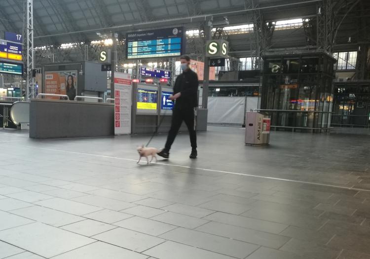 Mann mit Hund im Frankfurter Hauptbahnhof, über dts Nachrichtenagentur