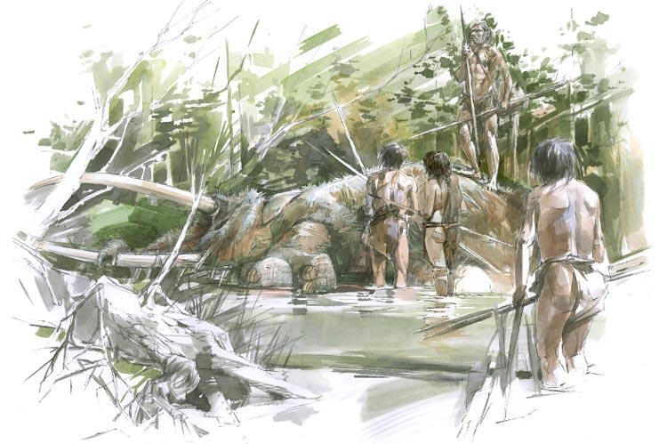 Archäologen dokumentieren Spuren von Steinzeitmenschen und Fußabdrücke von Elefanten. So könnte es ausgesehen haben, als die Menschen den verstorbenen Elefanten gefunden haben.
