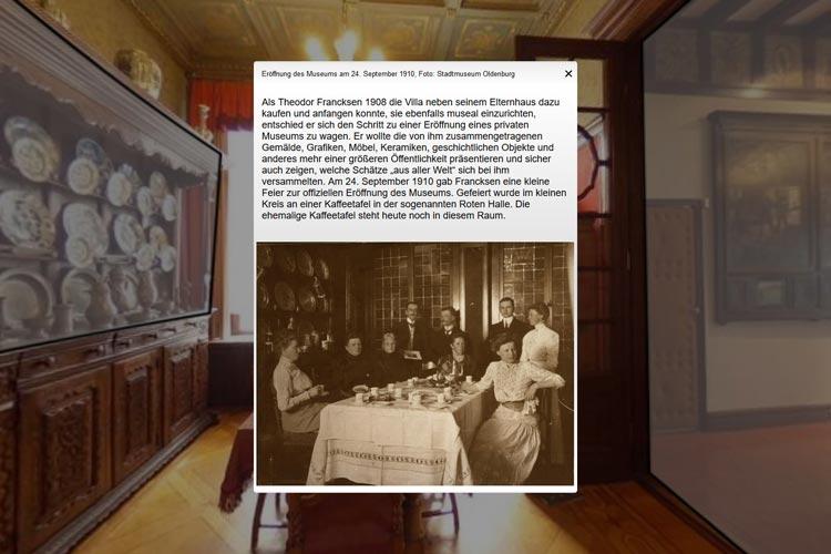 Screenshot aus dem virtuellen Rundgang mit einem Archivbild aus der Gründungszeit des Stadtmuseums.