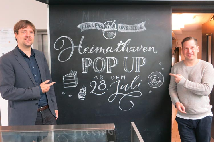 Freuen sich auf das neue Heimathaven PopUp-Café: Dr. Steffen Wiegmann und Sascha Mühlenbeck.