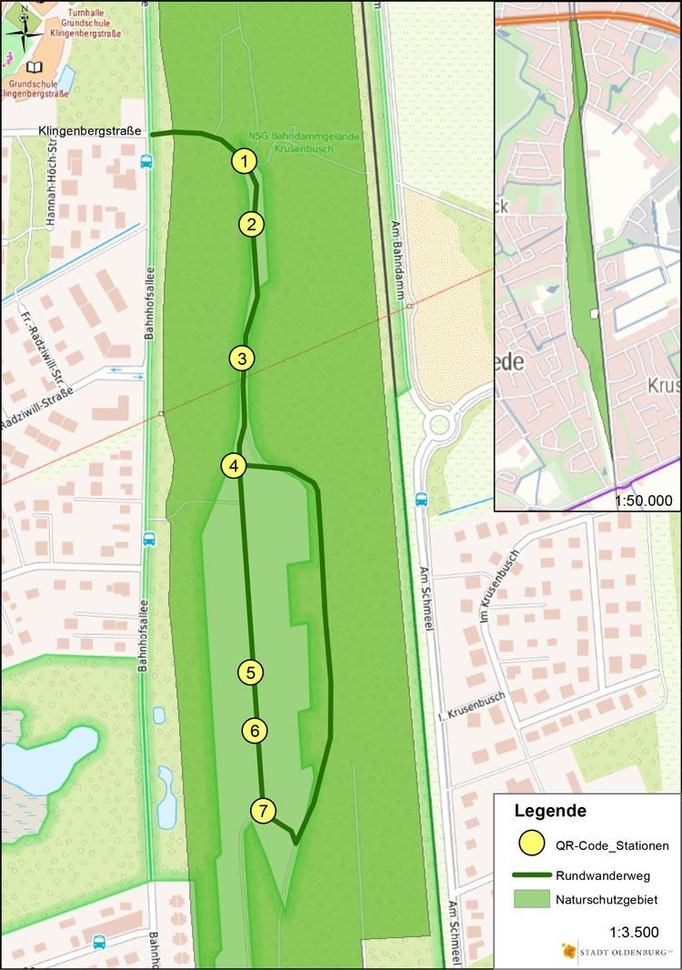 """Übersichtskarte des virtuellen Info-Lehrpfad im Naturschutzgebiet """"Bahndammgelände Krusenbusch""""."""