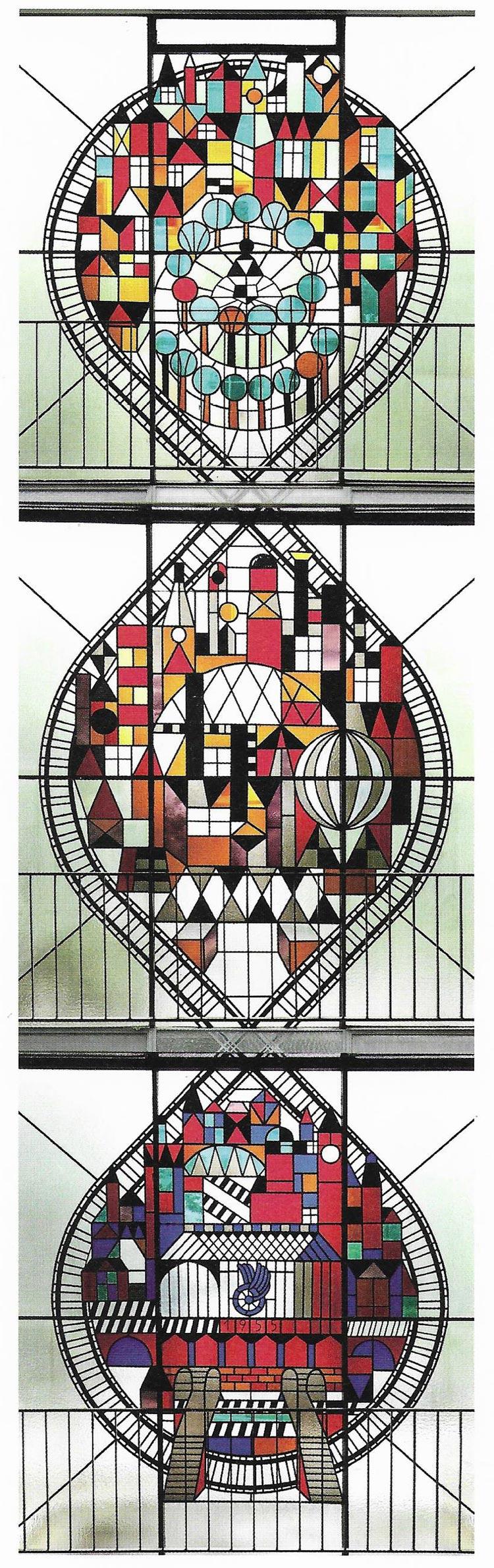 Horst Janssen, Farbglasfenster Bahnhof Altona, 1955.
