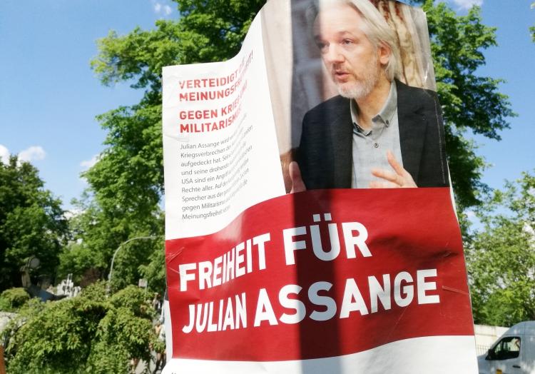 Plakat ´Freiheit für Julian Assange´, über dts Nachrichtenagentur