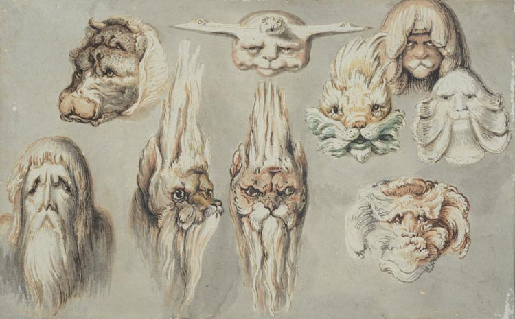 J.H.W. Tischbein, Muschelformen als Tierköpfe gesehen, nach 1787, Aquarell, Landesmuseum Oldenburg.