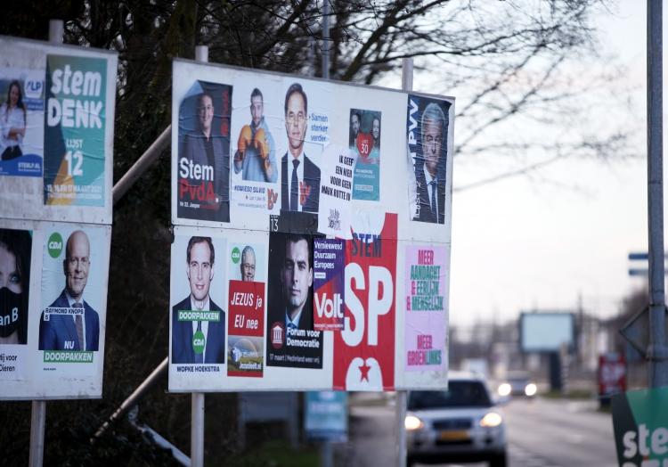 Plakate zur Parlamentswahl in den Niederlanden 2021, über dts Nachrichtenagentur