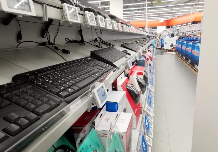 Computertastaturen in einem Elektronik-Fachmarkt, über dts Nachrichtenagentur