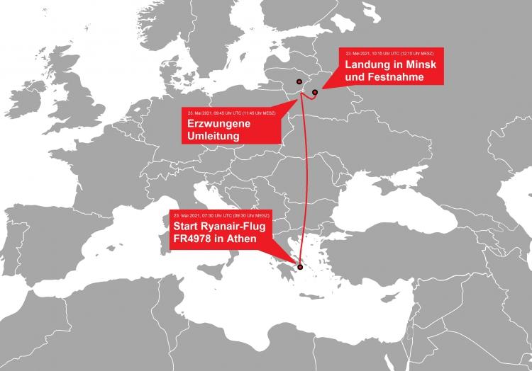 Verlauf von Ryanair-Flug FR4978 am 23.05.2021, über dts Nachrichtenagentur