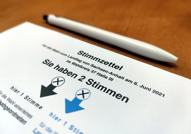 Stimmzettel für Landtagswahl in Sachsen-Anhalt am 06.06.2021, über dts Nachrichtenagentur