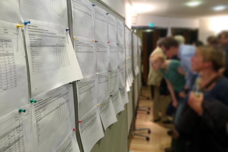Während der Auszählung verfolgen viele im Wahlzentrum PFL am Wahlabend die einzelnen Ergebnisse.