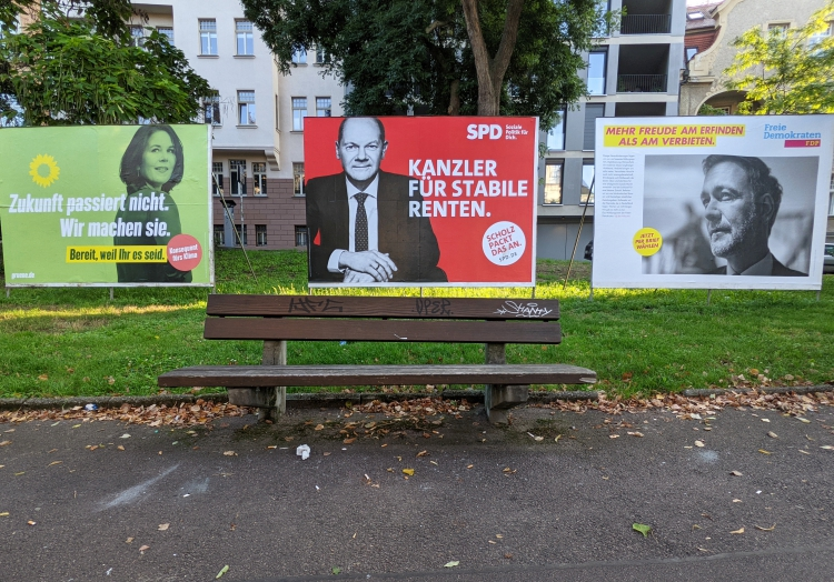 Wahlplakate von Grünen, SPD und FDP zur Bundestagswahl 2021, über dts Nachrichtenagentur