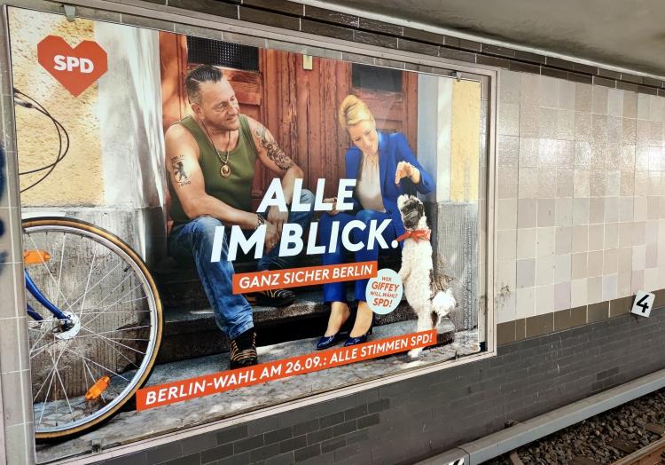 SPD-Wahlplakat mit Franziska Giffey, über dts Nachrichtenagentur