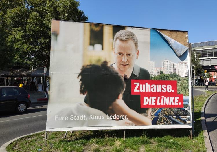 Linke-Wahlplakat mit Klaus Lederer, über dts Nachrichtenagentur