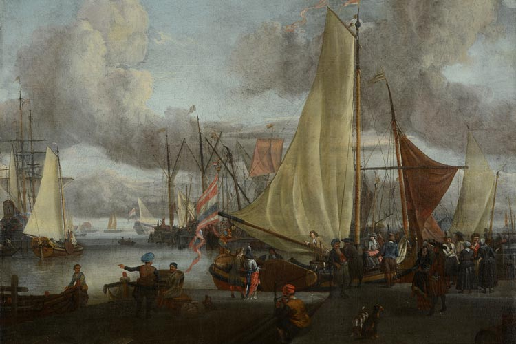 Abraham Storck, Schiffe an einem Hafen um 1670-1700.