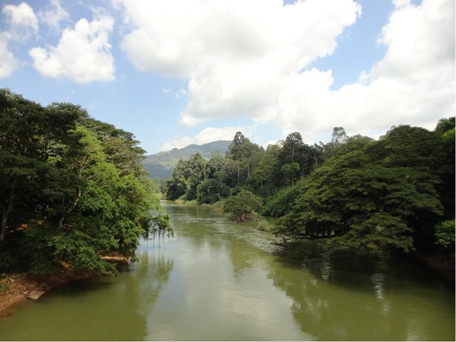 Kelani River in Kitulgala, dem Ort in Sri Lanka, an dem die berühmte Brücke gedreht wurde.